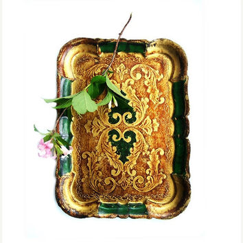 SALE 15% off Vintage Italian Wooden Tray , Florentine Wooden Ornate Golden ,Gold and Green  Tray
