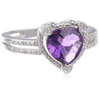 Sterling Silver Heart-Shape Gemstone and Diamond (0.03 cttw) Ring
