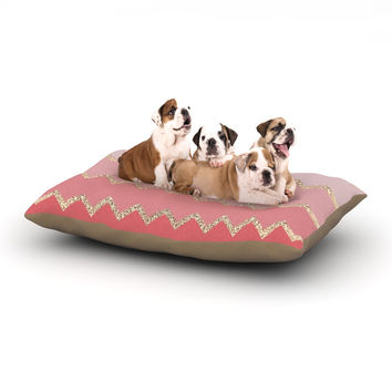 "Monika Strigel ""Avalon Coral Ombre"" Pink Chevron Dog Bed"
