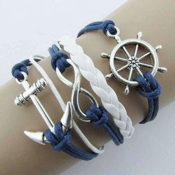 New Silver Infinite Bracelet Nautical Rudder Anchor Blue Leather Rope Bangle #LWN