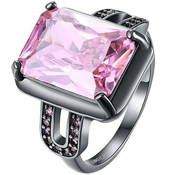 AWLY Jewelry Women 18k Black Gold Plated Square Large Stone Princess Cut Pink CZ Solitaire Wedding Ring