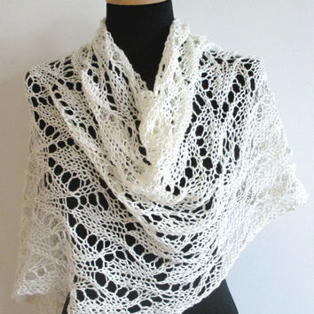 Lace knit shawl, hand knitted lace stole, white linen poncho, fashion accessories for women
