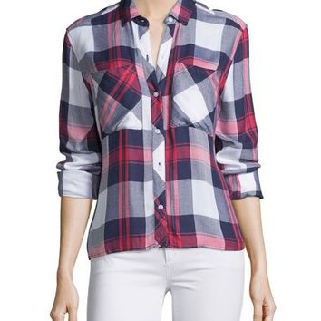 Rails Dylan Plaid Long-Sleeve Shirt, White/Indigo/Blush