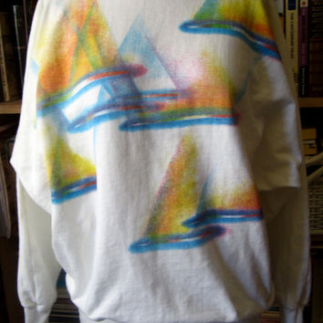 Vintage 1980's slouchy batwing sweatshirt jumper brush stroke nautical beach print oversize white xs small