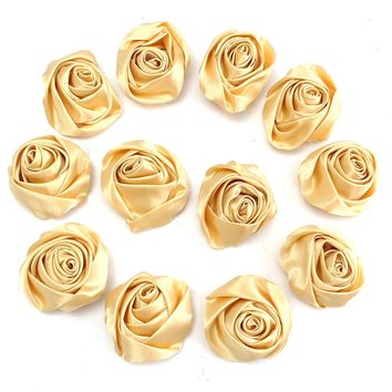 12pcs Gold Satin Ribbon DIY Rose Flower Wedding Bouquet Gift Accessories