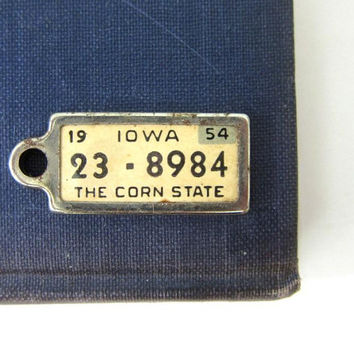 Miniature IOWA The Corn State License Plate Vintage 1950s Charm Pendant Mid Century Hipster Costume Jewelry Disabled American Veteran