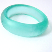 Light Turquoise Blue Resin Ring Jewelry ,  Blue Resin Stacking Ring , Size 10 Frosted Band Australia Matte Ring