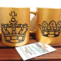 Royal mugs a set of two gold mugs King and Queen black and gold mug set coffee or tea mug set