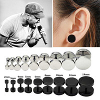 1Pair Unisex Mens Barbell Punk Gothic Stainless Steel Ear Studs Earrings