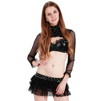 HU&GH Exotic Black Two Pieces Sexy DS Stage Performance Costume Fishnet Long Sleeve Top and Tutu Gothic Sexy Costume Outfits