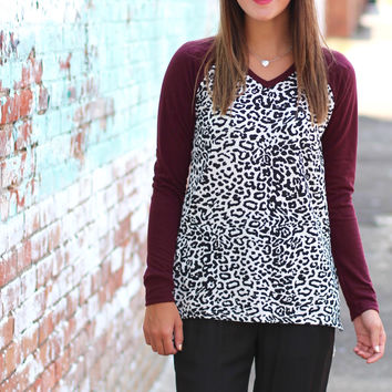 White Leopard Light Sweater {Burgundy}