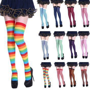 Knee Socks Sexy Slim Striped Long Socks Autumn Winter Christmas Halloween Easter Ball Party Costume Knee High Socks