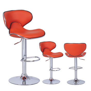 Adeco Orange Cushioned Leatherette Adjustable Barstool Chair, Curved Back, Chrome Finish Pedestal Base (Set of two)