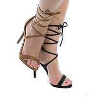 Digit By Delicious, Open Toe Lace Up Leg Wrap Stiletto High Heel Sandals