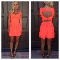 Cut My Heart Out Dress - NEON ORANGE