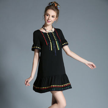Ethical Tribe Style Women Ribbon Trim Plus Size Black Mini Casual Summer Dress l-5xl