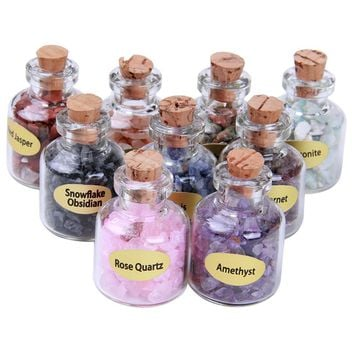 9 pcs Mini Glass Bottles filled with Semiprecious  Healing Crystals