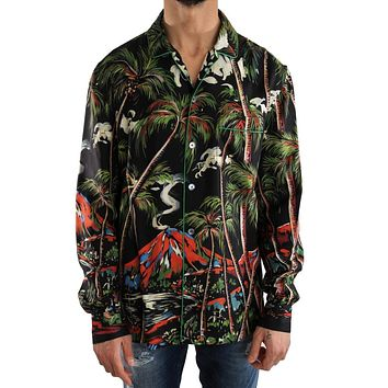 Dolce & Gabbana Multicolor Silk Jungle Print Shirt