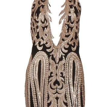 Number One Stunner Gold Black Bodycon Glitter Tendril Lace Halter Keyhole Cut Out Open Back Mini Dress