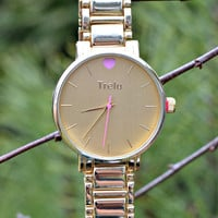 Heart of Pink Boyfriend Watch - Gold