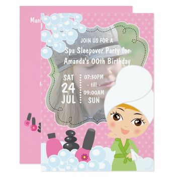 Girl Spa Sleepover Birthday Party add photo Invite