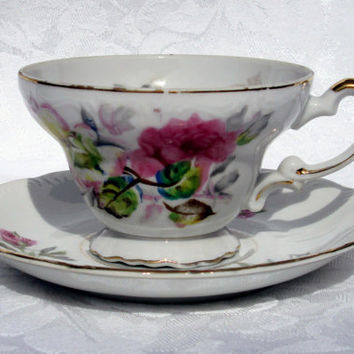 UCAGCO Japan Tea Coffee Cup and Saucer with Pink Rose Peony Flowers