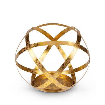 Metal Sphere Candle Holder 9""