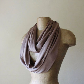 TAN Infinity Scarf - Earthy Loop Scarf - Lightweight Jersey Circle Scarf - Handmade Eternity Scarf