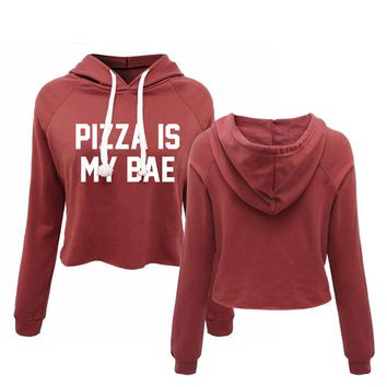 Pizza Is My Bae Hoodies - Women's Crop Top Hooded Sweatshirt