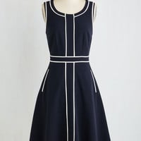 Long Sleeveless A-line Roving Reporter Dress in Navy