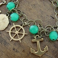 Nautical Charm Bracelet Anchor Starfish Sand Dollar Ship Wheel (Free Shipping)