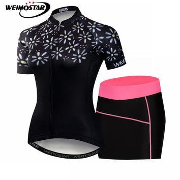 2018 Short Sleeve Women's Cycling Jersey team sets bicycle mini dress shorts cycle clothing Maillot Racing Bike Clothes Set