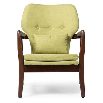 Baxton Studio Rundell Mid-Century Modern Retro Green Fabric Upholstered Leisure Accent Chair in Walnut Wood Frame Set of 1