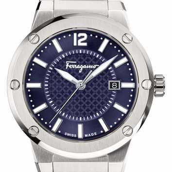 Men's Salvatore Ferragamo 'F-80' Bracelet Watch, 44mm - Silver/ Blue