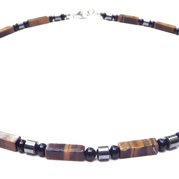 """Stable & Grounded"" Men's Crystal Healing Intention Necklace Yellow Tiger Eye, Onyx, Hematite MN36"