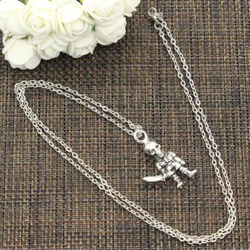 Skull soldier with a dagger 37*20mm Silver Necklace Pendant Jewelry