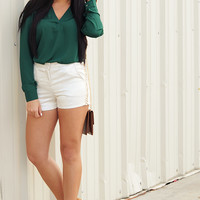 Guide You Home Blouse: Hunter Green