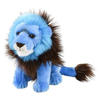9 Inch Bright Blue Lion Plush Stuffed Animal Floppy Rainbow Prism Collection