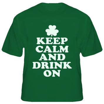 Youth Keep Calm and Drink On Shamrock T-Shirt
