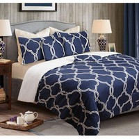 6 Piece Queen Comforter Set Manhattan Blue by Shangri La