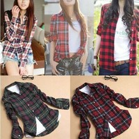 Plaid Turn Down Collar Long Sleeve Shirt