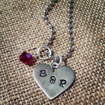 Hand Stamped Pewter Initial Heart Charm