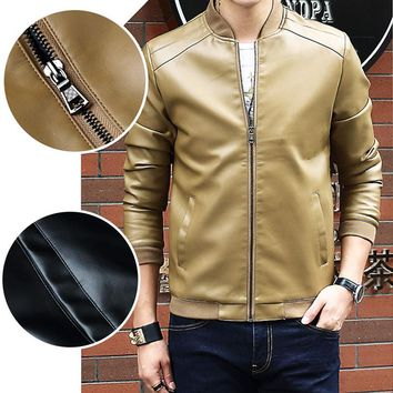 Casual tops Men's leather jacket Baseball collar 1Pcs Long sleeves