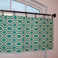 Custom Boutique Turquoise/Green gometric Valance - Lined Curtain - for Kitchen, Bathroom, Laundry, Bedroom, living room - Window Treatments