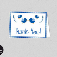 Baby Shower - Printable Bird Thank You Card, Navy Blue, Birdie Thanks, Printable Party Supplies, Baby Shower Favor Tag, Baby Boy, Kawaii