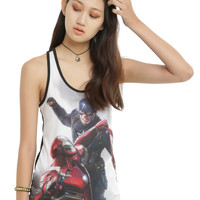 Marvel Captain America: Civil War Captain America Vs Iron Man Girls Tank Top
