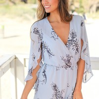 Pale Blue Tropical Romper