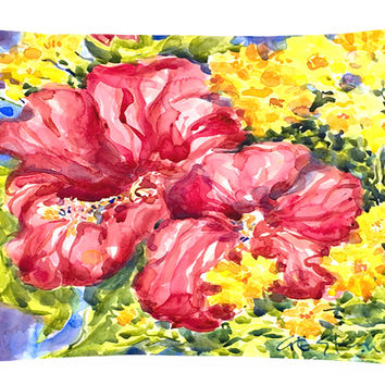 Flower - Hibiscus Decorative   Canvas Fabric Pillow