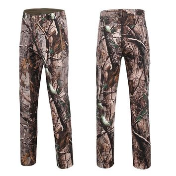 Men Bionic Camouflage Hunting Pants Water-repellant Softshell with Fleece Outdoor Tactical Trousers lHiking Pants Hunting Pants
