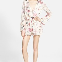 Women's Missguided Floral Plunge Romper,
